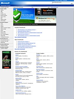 A screenshot of the microsoft download page